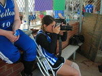 A True Team Player, Kate Silver, helps out the with team anyway she can after her injury.